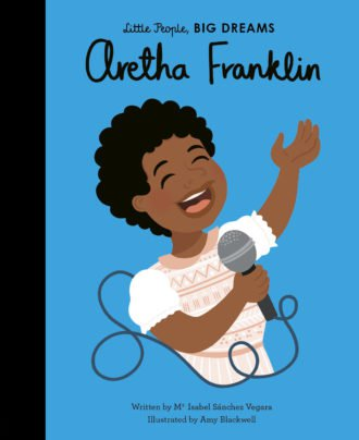 Cartoon of Aretha Franklin singing into a microphone