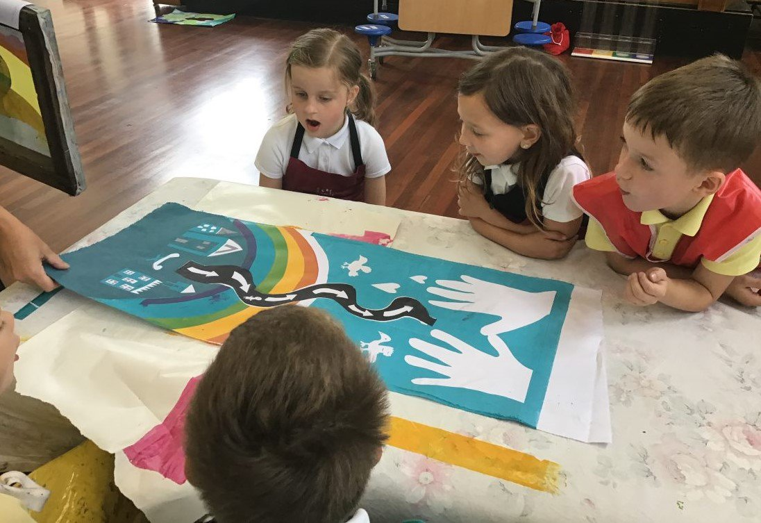 Children screen printing